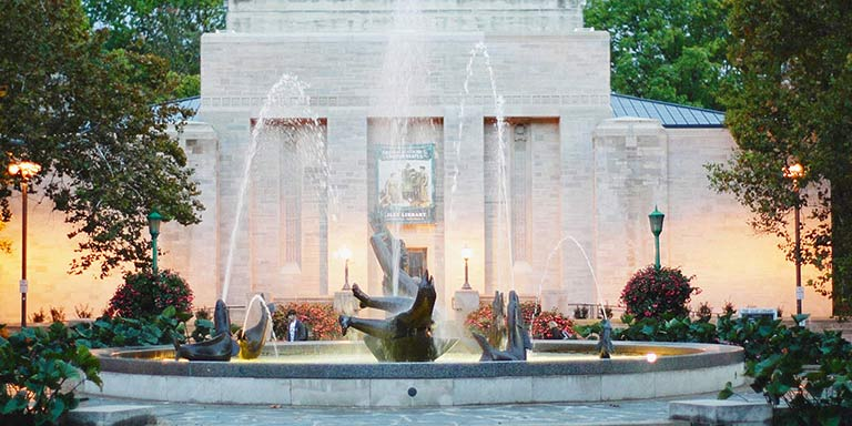 Showalter fountain facing Lilly Library